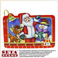"""Новогодняя поздравительная мини-открытка """"Санта и Рудольф"""""""