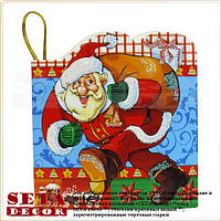 """Новогодняя поздравительная мини-открытка """"Весёлый Дед Мороз"""""""