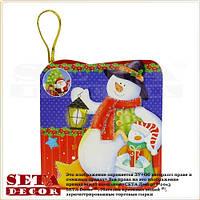"""Новогодняя поздравительная мини-открытка """"Снеговики"""""""