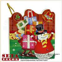 """Новогодняя поздравительная мини-открытка """"Снеговик с подарками"""""""
