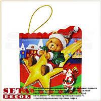"""Новогодняя поздравительная мини-открытка """"Мишка на звезде"""""""