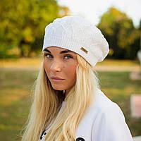 Женский вязанный берет (цвет - белый)