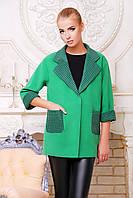 Женское кашемировое пальто зеленого цвета демисезонное