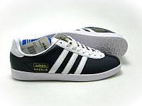 Кроссовки кожаные мужские Adidas Gazelle Originals синие мужские кроссовки