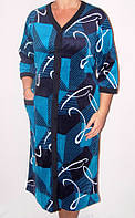 Яркий женский халат на пуговицах батал