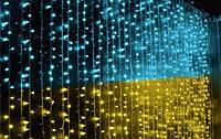 Гирлянда светодиодная водопад  320 BY 320 ламп сине - желтая, 320 BY многоцветная сетка