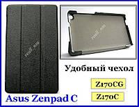 Черный кожаный tri-fold case чехол-книжка для планшета Asus Zenpad C 7.0 Z170C Z170CG