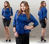Платье женское нарядное с баской верх гипюр низ дайвинг размеры 50-52 54-56 58-60 62-64