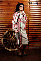 Женское льняное платье с вышивкой, размер 44
