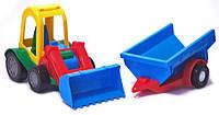 Игрушечная машинка трактор багги с ковшом и прицепом (39229) Wader