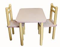 Комплект из столика и двух стульчиков из дерева фиолетовый (slolF)