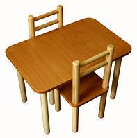 Комплект из столика и двух стульчиков из дерева коричневый (slolK)
