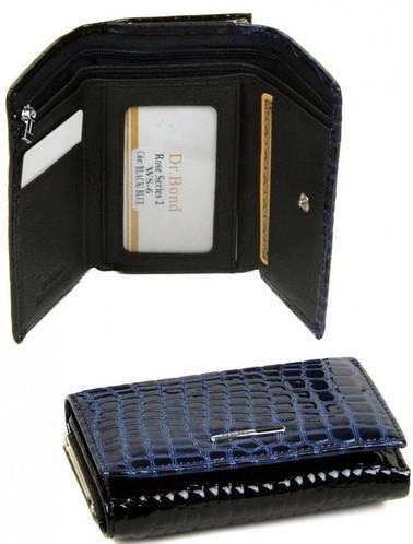 Компактный яркий женский кошелек  Rose Series-2 с искусственной кожи dr.Bond WS-5 black-blue (черно-синий)