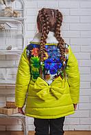 Пальто для девочки с бантом весна-осень желтое