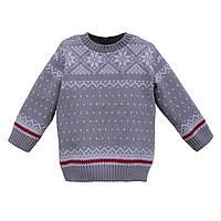 """Теплый свитер серого цвета """"Снежинка"""" для детей 6-10 лет."""