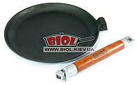 Чугунная блинная сковородка 24 см со съемной ручкой БИОЛ 04241. Сковорода чугунная блинная