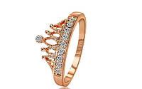 Кольцо в форме короны,усыпанное цирконами,покрытое розовым золотом р 16,18,19 код 841