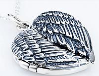 Серебряный кулон открывающийся подвеска Сердце Крылья Ангела