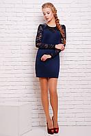 Комбинированное короткое облегающее платье. Рукава, кокетка и спинка выполнены из стрейч-гипюра, 42-46 размер