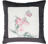 """Набор для вышивания подушка квадрат """"Бабочка и цветок"""" (в темной рамке)"""
