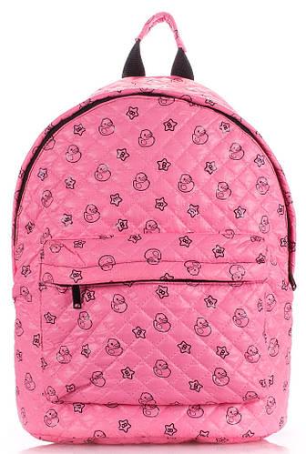 Яркий молодежный стеганный рюкзак с принтом POOLPARTY theone-pink-ducks розовый