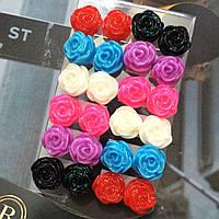"""Серьги """"Роза""""  форма розы, гвоздики, разные цвета."""