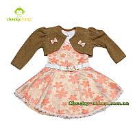 Нарядное коричневое платье с болеро на девочку 2, 3, 4 года