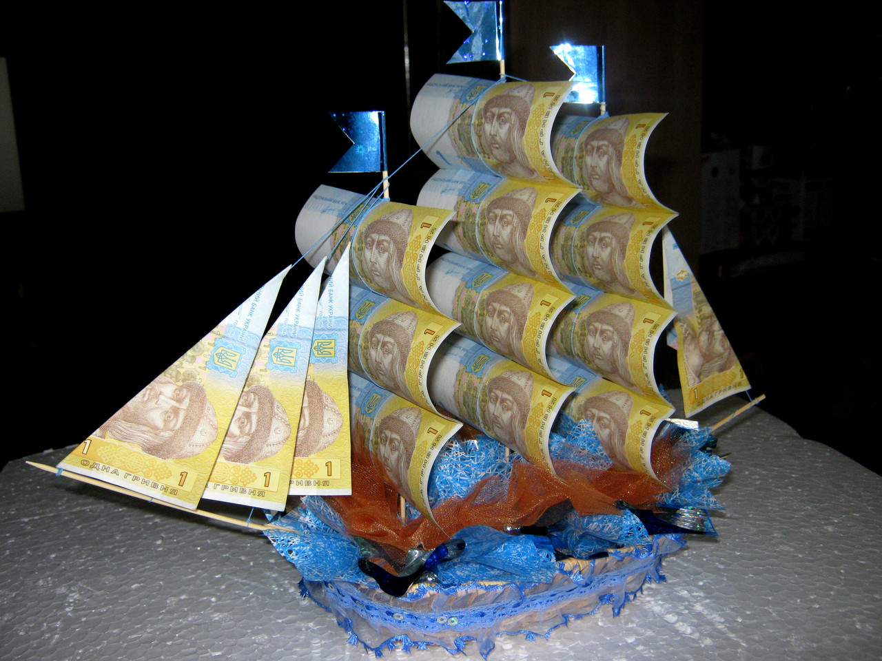 Денежный кораблик мастер класс