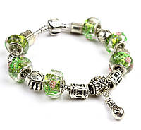 Браслет Pandora Style с бусинами из муранского стекла в зеленых тонах