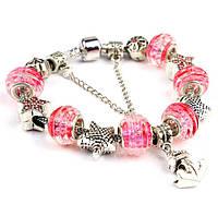 Браслет Pandora Style с бусинами из муранского стекла в нежно розовом цвете