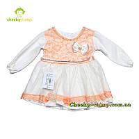 Велюровое персиковое платье с гипюром на девочку