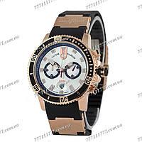 Часы мужские наручные Ulysse Nardin Maxi Marine Diver Chronograph Gold-Black/White
