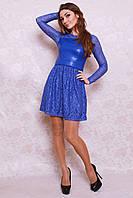 Стильное нарядное платье со вставками гипюра и кожи