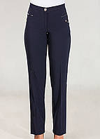 Женские брюки со стрелками синего цвета  с утепленной ткани
