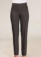 Женские классические брюки высокой посадки серого цвета, фото 1