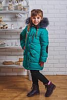 Пальто зимнее для девочки с латками зеленое, фото 1