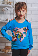 Кофта для девочки с сердцем голубая, фото 1