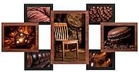 Деревянная мультирамка на 7 фото Красное дерево,Золотой с рельефом,Ампир,Медные волны,Черное серебро, Клеопатр