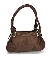 Маленькая женская сумка коричневая с вышивкой, Vivi 77.