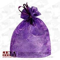 Фиолетовый подарочный мешочек 12х16(11) см блестящий из органзы, полупрозрачный