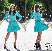 Платье халат юбка в два яруса на пуговицах бирюза