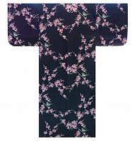 """Юката из Японии  """"Розовая слива и певчая птичка"""" (искусственный шелк)"""