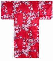 """Юката из Японии  """"Цветение белой сакуры"""" (искусственный шелк)"""