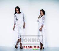 Платье Стильное белая кружевная ассиметрия макси