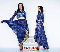 Платье Стильное синяя кружевная ассиметрия макси