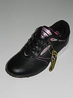 Кроссовки женские кожаные повседневные черные с розовым Украина Restime размер 35, 36