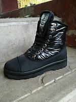 Женские зимние ботинки чёрные XX – 3710 балоневый верх с 37 по 41 размер