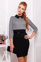Женское деловое черно-белое платье карандаш