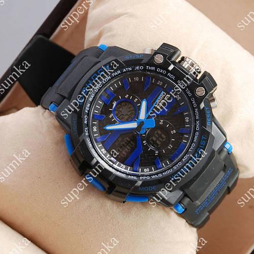 Элегантные спортивные наручные часы Casio D-1365A Black/Blue 6058