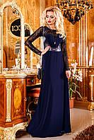 Женское вечернее платье в пол с гипюром и кожаными вставками